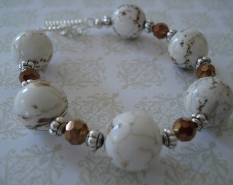 "Beaded Bracelet, Chunky Bracelet, White Gemstone, Casual Bracelet, Fits 6.5-7"" wrist"