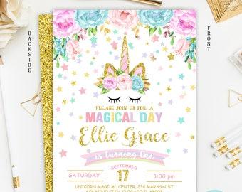 Unicorn Invitation, Unicorn Birthday Invitation, Rainbow Unicorn Magical Birthday Invitation, Unicorn Birthday Party, Floral Invitation