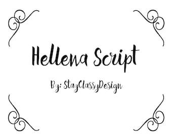 Hellena Script Font Download Digital Text Handmade Zip otf ttf