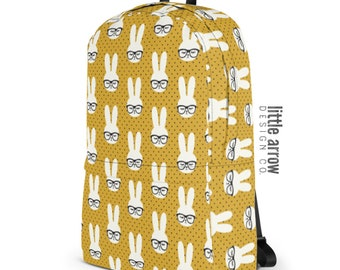 Bunny with glasses - mustard polk dots - Backpack