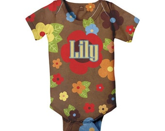 Personalized Baby Bodysuit, Infant Girl's Chocolate Floral Snapsuit