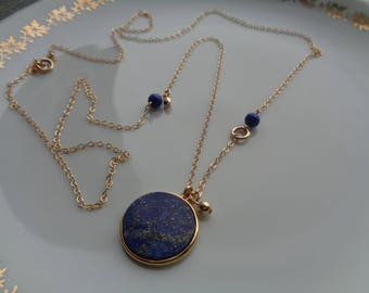 Long gold chain with lapis pendant, 585 gold Filled