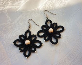 Cute Black Tatted Flowers with Beige Glass Beads - choose your colour - custom - needle tatting - gifts for her - handmade with love