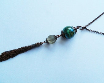 Copper Vintage chinese carved glass bead and Lampwork bead long tassel Necklace