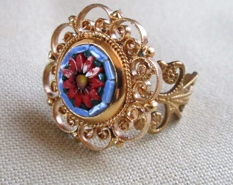 Vintage Repurposed Upcycled Jewelry Adjustable Ring Micro Mosaic Blue and Red Floral Gift OOAK