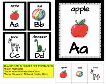 Printable Classroom Alphabet Set: Wall Cards, Flash Cards, and Word Wall Cards