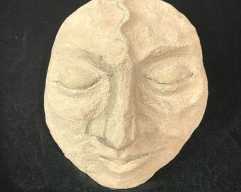 Take A Break - Concrete Sculpture | Hand Sculpted Garden Face Resting | Unique Outdoor Decor | Rock Garden Sculpture | Concrete Garden Art