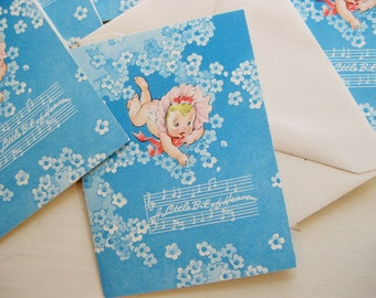 """Seven sweet 1940s baby announcements. """"A little bit of heaven"""" Baby shower. Baby welcome. New baby. Blue and pink."""