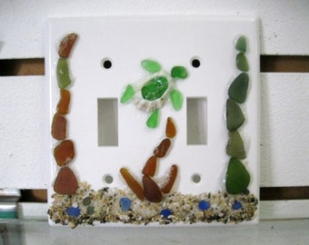 Decorative Light Switch Plate Cover- Plastic switch Covers - Sea Glass Mosaic- Beach Decor-sea turtle-  Coastal Decor- Cottage Chic