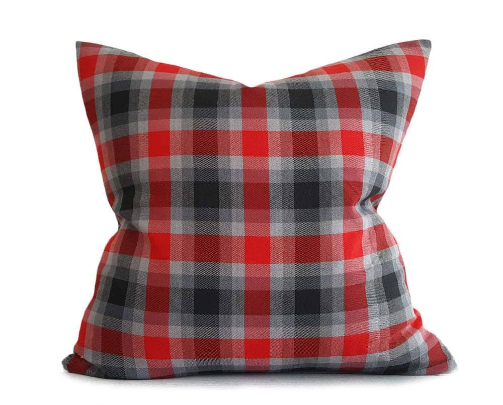 Red Grey Throw Pillows Plaid Pillow Covers Red Black Plaid