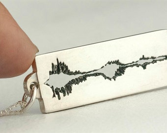 Sound Wave Necklace Jewelry Soundwave Personalized Custom Sterling Silver Dog Tag