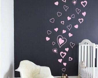 Heart Decals, Hearts Wall Decals, Hearts Wall Stickers, Trendy Wall Decals Nursery Bedroom Office Decals Girls Nursery Hearts-DK269