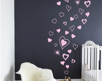 Heart Decals, Hearts Wall Decals, Hearts Wall Stickers, Trendy Wall Decals  Nursery Bedroom Office Decals Girls Nursery Hearts DK269