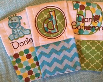 Personalized Embroidered Cloth Diaper burp cloth set of 3 newborn boy gift set