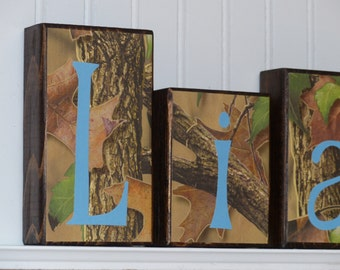 Personalized Name Block Letters, Camo and Light Blue, little boy bedroom decor or nursery custom wood sign baby boy blocks Hunter outdoor