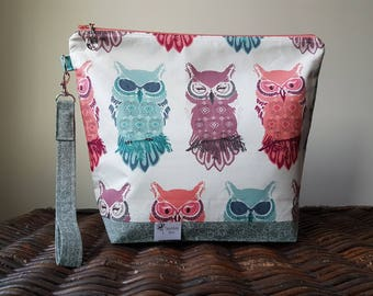 """Knitting Project Bag - Large """"Owls"""""""