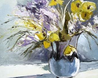 """Figurative painting flowers :  60/50 cm """" Douces Vibrations"""""""