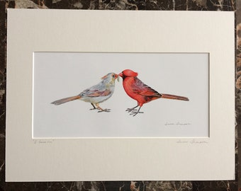 Cardinal Pair Giclee print, male and female cardinal art, love birds, bird art, anniversary gift, wedding shower gift, partners in life