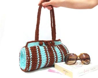 Crochet Bag, Cylinder bag, Brown, Blue crochet tote bag, Handmade crochet handbag, Unique bag, Useful bag, Pouch, Blue Brown