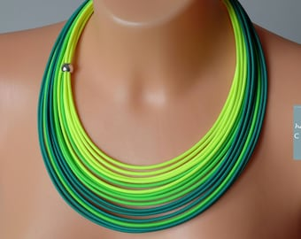 Green necklace, Neon yellow necklace, Bright neon jewelry, Funky necklace, Multicolored necklace, Neon jewelry,Statement green necklace