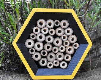 Bee Hotel - Honeycomb Solitary Bee House - Mason Bee - Gift for Gardeners - Yellow/Black - Gardner Gift - Hexagon Bee House - Garden