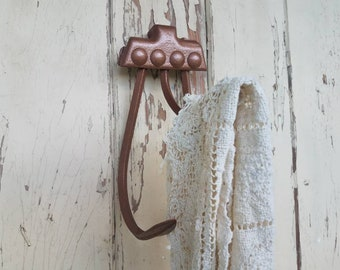 Antique Plow Claw Hook - Upcycled Wall Hook, Vintage Iron Hook, Towel Holder For Bathroom or Kitchen, Copper Home Decor, Rustic Home Decor