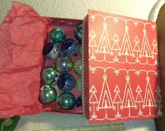 Box of Vintage Ornaments from the 50s and 60s