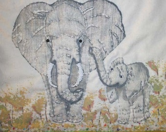 Out of Africa The Elephants mixed media original one of a kind