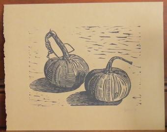 Mini Pumpkins Original Linocut Print