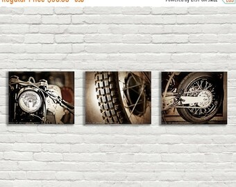 FLASH SALE til MIDNIGHT Set of 3 Vintage Motorcycle Parts Closeup Brown Tones, Fine Art Photo Prints, Mod decor, wall art, motorcycle prints