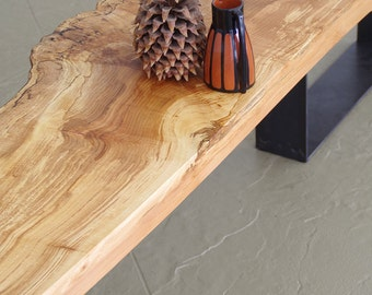 live edge bench from urban salvage wood and high recycled content steel - north | west bench - modern industrial natural edge
