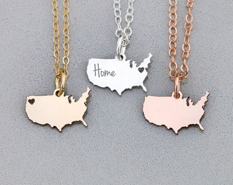 USA Necklace United States • America Necklace Patriotic •Gift Sterling Silver Charm Country State Charm Gift Charm Military Gift