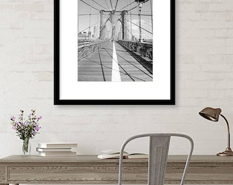 Brooklyn Bridge, Black and White, New York Photography, New York Wall Art, Architecture, NYC Print, Office Decor, Wall Art