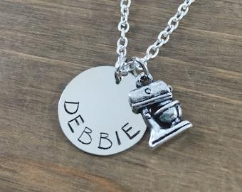 Personalized Baker's Necklace - Handstamped Mixer Name Necklace - Chef Necklace - Baker's Necklace - Cooks Necklace