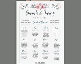 Floral PDF Printable Table Plan - XL Seating Chart - Digital Wedding Table Plan - Alphabetical - 16x20 18x24 22x28 24x36 36x48 - A2 A0 A1