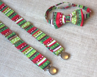 Red and Green Print Bow Tie and Suspender set ( Men, boys, baby, toddler, infant ) outfit
