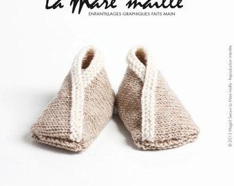 Slippers baby Merino Wool very soft light brown mottled and ecru mesh knitted de La Mare' mesh