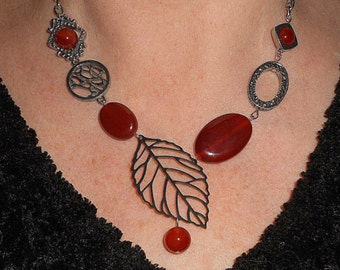 Statement necklace, unique necklaces for women, carnelian necklace, asymmetric necklace, funky necklace, boho jewelry, mothers day gift