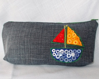 Jean Pencil Case with Button Sail Boat Decoration Great Gift for a Little Boy
