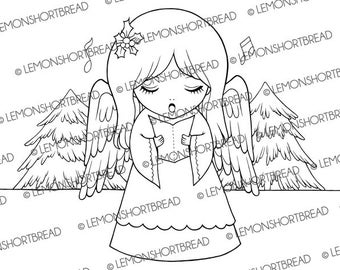Digital Stamp Christmas Carol Angel, Digi Download, Xmas Carolling Child, Snow Forest, Graphic Image, Clip Art, Scrapbooking Supplies