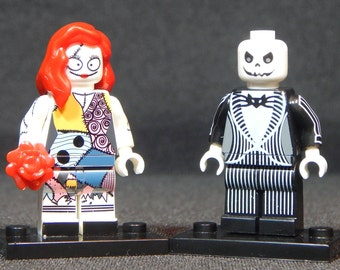 Nightmare Before Christmas Set Of 2 Custom Minifigs Jack Skellington Sally Building Block Toy