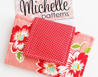 Business Card Wallet PDF Sewing Pattern | Sew a two pocket wallet to use as a business card holder or credit card case or minimalist wallet.