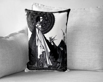 """harry clarke illustration - 14"""" x 20"""" velveteen pillow case - for edgar allan poe"""