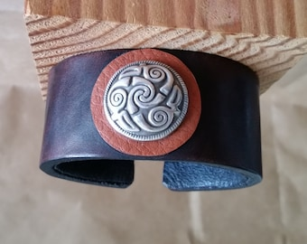 "LEATHER BRACELET with Celtic Spiral Concho. 6-3/4"" Wrist Size. Maroon Oxblood Brown Latigo Wristband. Men, Women, Unisex. Silver Concho Cuff"