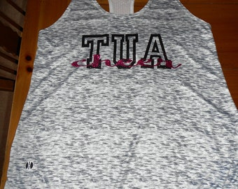 Custom Space Dye Athletic Tank with Glitter Letters