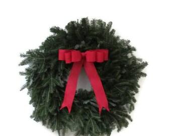 Fresh Fraser Fir Wreath-Christmas Wreath- Winter Wreath-Real Wreath-Fresh Wreath-Red Bow-Fresh Pine Wreath-Holiday Wreath-Real Xmas Wreath