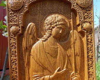 Archangel Michael  religious icon Wood carving  wall christian decor wood icon personalized gift  FREE SHIPPING