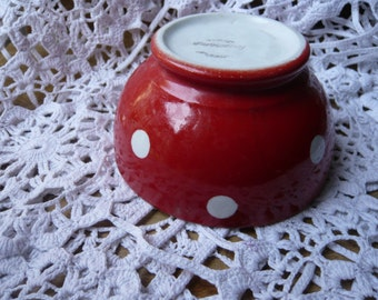 Porcelain polka dot bowl red and white signed Longchamp made in France circa 1940 for polka dot collector breakfast kitchen vintage decor