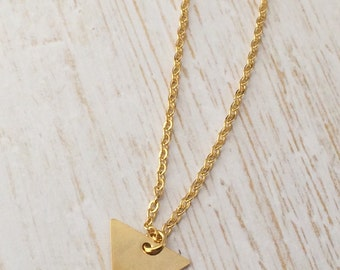 Gold triangle pendant charm necklace. Dainty, minimal triangle.