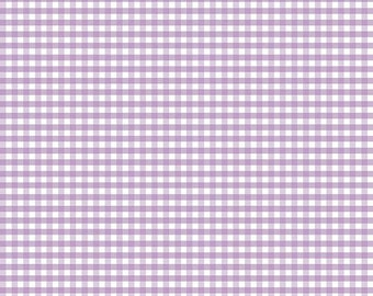 """Riley Blake - Small gingham in LAVENDER and white - 1/8"""" Gingham check Fabric - cotton sewing quilting fabric - HALF YARD cut"""